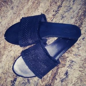 Black slippers size 10